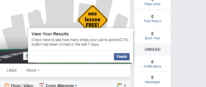 Facebook Call To Action button results